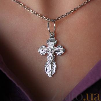 Серебряный крестик с алмазными насечками Милосердие Господне ІНЦІ HUF--3208-А.ин