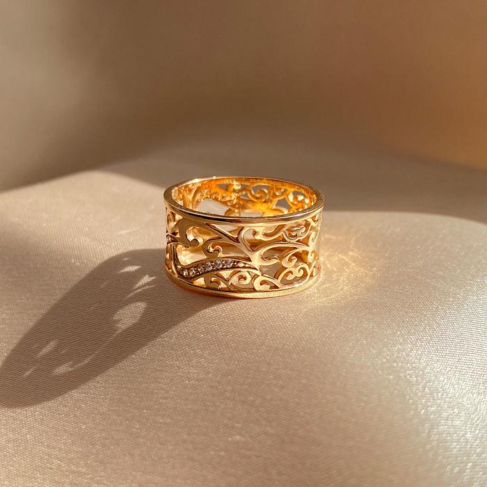 Узорное обручальное кольцо из красного золота с фианитами 000000245 12046