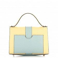 Кожаная деловая сумка Genuine Leather 8644 желтая с голубым, с клапаном на механическом замке
