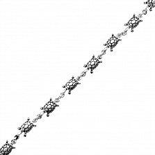 Серебряный браслет Черепашки со звеньями в виде животных