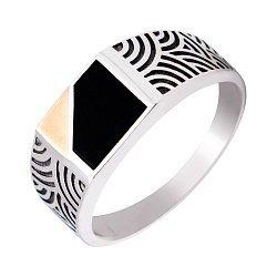 Серебряный перстень-печатка с золотой накладкой и черным ониксом 000116131