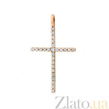 Крестик из красного золота с бриллиантами Прикосновение ангела VLA--33480