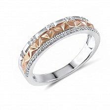 Обручальное кольцо Эмелина из красного и белого золота с бриллиантами