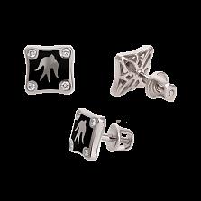 Золотые серьги-пуссеты с бриллиантами и эмалью Полет ласточек Black Edition
