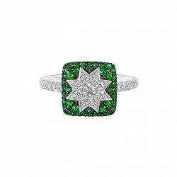 Кольцо из белого золота Звезда эльфов с бриллиантами и цаворитами