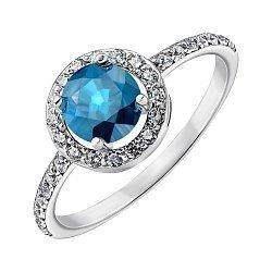 Серебряное кольцо Янина с лондон топазом и фианитами 000064890