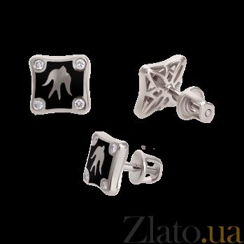 Золотые серьги-пуссеты с бриллиантами и эмалью Полет ласточек Black Edition 000027224