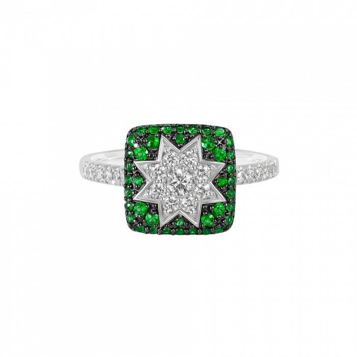 Кольцо из белого золота Звезда эльфов с бриллиантами и цаворитами 000081015