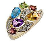 Кольцо Вена из желтого золота с бриллиантами, цитрином, топазом, аметистом, турмалином и хризолитом
