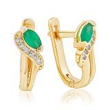 Золотые серьги Офелия с зеленым ониксом и фианитами