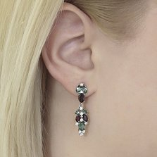 Серебряные серьги-подвески Люсьен с гранатами, зеленым кварцем и фианитами