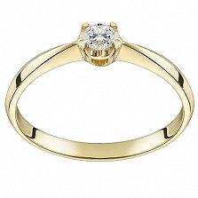 Помолвочное кольцо из желтого золота Королевский цветок с бриллиантом 2,8мм
