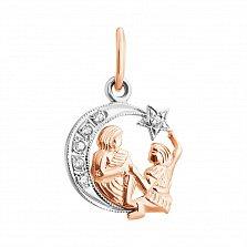 Золотой подвес знак Зодиака Близнецы на луне с фианитами