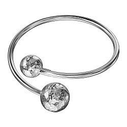 Серебряный жесткий разомкнутый браслет 000134479