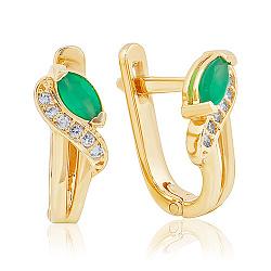 Золотые серьги с зеленым ониксом и фианитами 000037062