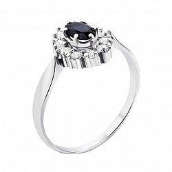 Серебряное кольцо с сапфиром и фианитами 000008147