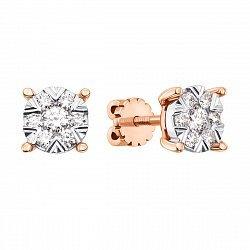 Серьги-пуссеты в комбинированном цвете золота с бриллиантами 000136566