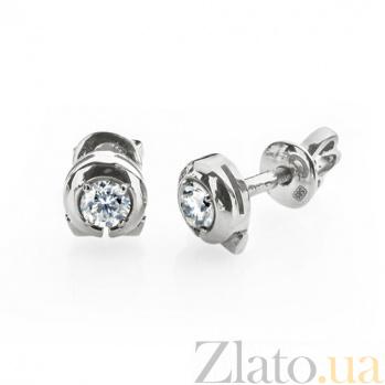 Сережки-пуссеты из белого золота с бриллиантами Искушение E0603