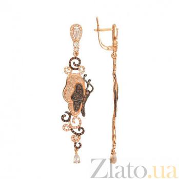 Серьги из красного золота с коньячными и белыми фианитами Джульетта VLT--ТТТ2492