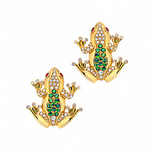 Золотые серьги с бриллиантами, цаворитами и сапфирами Лягушки Чудо Бытия