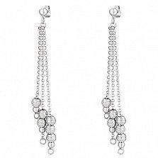 Серебряные серьги-подвески Гроздья