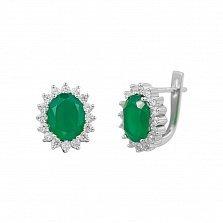 Серебряные серьги Пелагея с зеленым агатом и фианитами