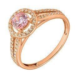 Золотое кольцо Оркестр камней в красном цвете с кристаллами Swarovski