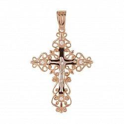Православный крестик в комбинированном цвете золота с фианитами 000133522