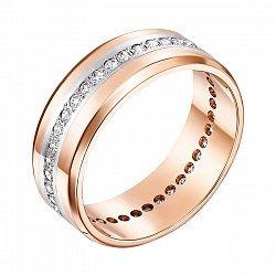 Золотое обручальное кольцо в комбинированном цвете с фианитами 000005358