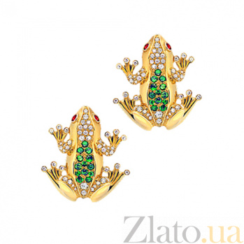Золотые серьги с бриллиантами, цаворитами и сапфирами Лягушки Чудо Бытия 000029589