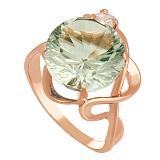 Золотое кольцо с зеленым аметистом и цирконием Джунгли