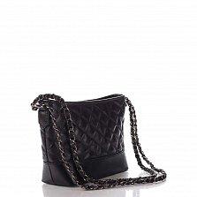 Кожаный клатч Genuine Leather 8816 черного цвета с замком-молнией и плечевым ремнем