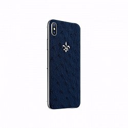 Apple IPhone XS MAX Noblesse OSTRICH EXOTIC EDITION в синей коже страуса, золоте и бриллиантами