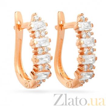 Золотые серьги с цирконием Абелия SUF--110196