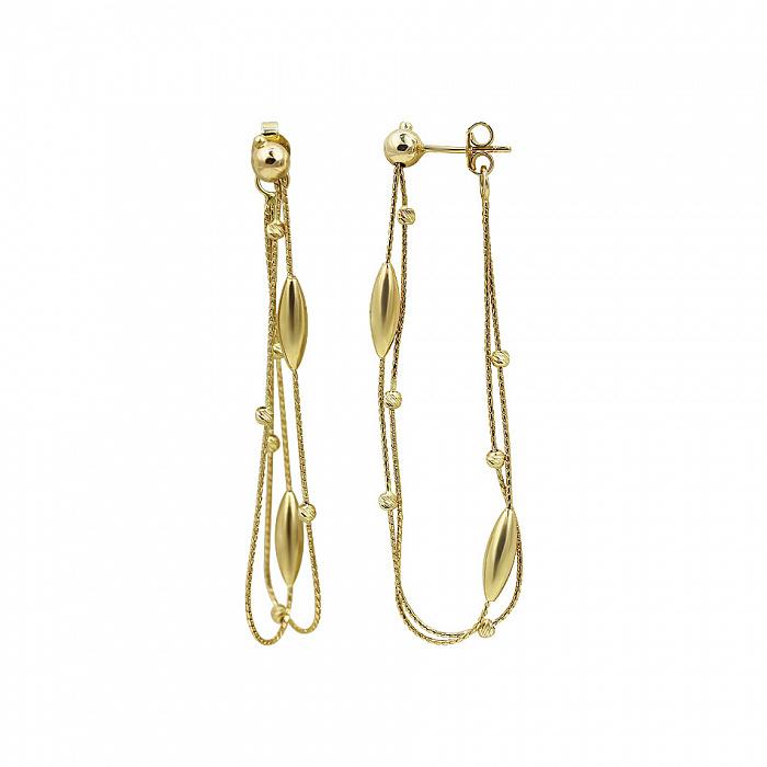 Серьги-подвески из желтого золота Осенний бал 000081482