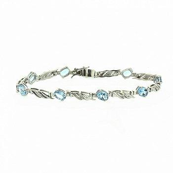 Золотой браслет в белом цвете с голубыми топазами и бриллиантами 000050796