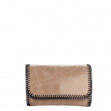 Кожаный клатч Genuine Leather 1010 темно-бежевого цвета с цепочкой и декоративной строчкой по краям