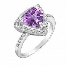 Серебряное кольцо Триангел с аметистом  и фианитами