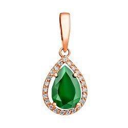 Золотой кулон Виктория с зеленым ониксом и фианитами 000042577