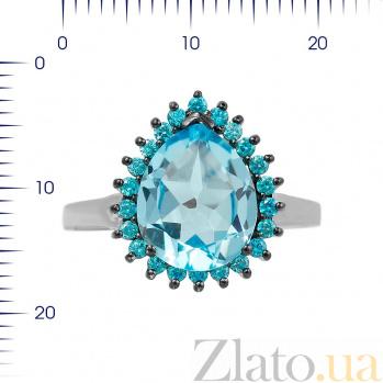 Серебряное кольцо Фелиция с топазом и голубыми фианитами 000081590