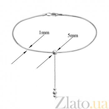 Серебряное браслет на ногу Тонда с подвеской с тремя шариками, 1мм 000078406