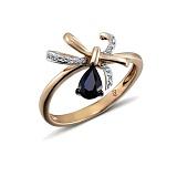 Кольцо из красного золота Грейс с бриллиантами и сапфиром