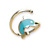 Золотое кольцо с цветной эмалью Дельфинчик