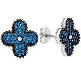 Серебряные серьги Синее счастье с цирконием