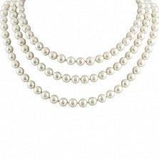 Ожерелье Нимея с белым жемчугом и серебряной застежкой р.100