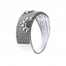 Серебряное кольцо Подсолнухи с белыми и черными фианитами
