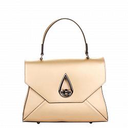 Кожаная деловая сумка Genuine Leather 8850 золотистого цвета на молнии и застежке-бабочке
