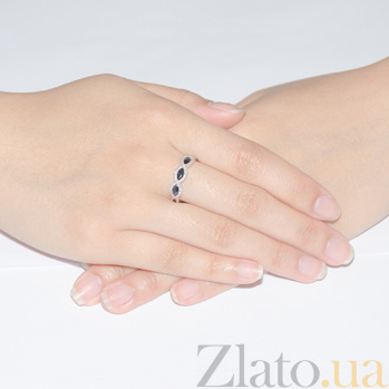 Золотое кольцо с сапфирами и бриллиантами 000006877
