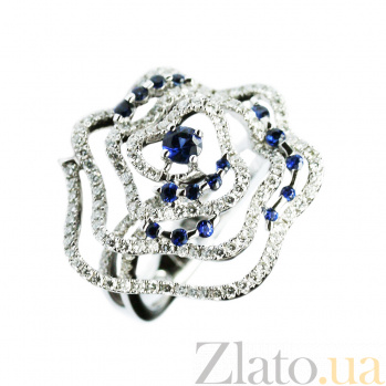 Золотое кольцо с сапфирами и бриллиантами Розамунд 000026903
