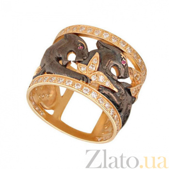 Кольцо из желтого золота Львица с цирконием VLT--ТТ1224